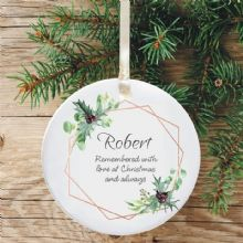 In Loving Memory Personalised Remembrance Christmas Tree Decoration - Geometric Holly Design